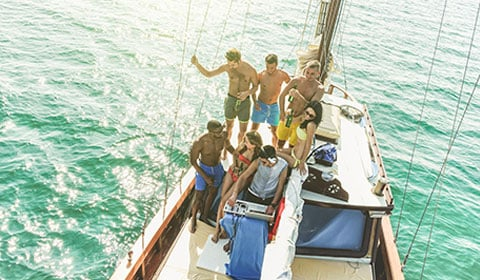 Group of Young People in Boat Party