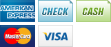 We accept American Express, Checks, Cash, MasterCard and Visa.||||