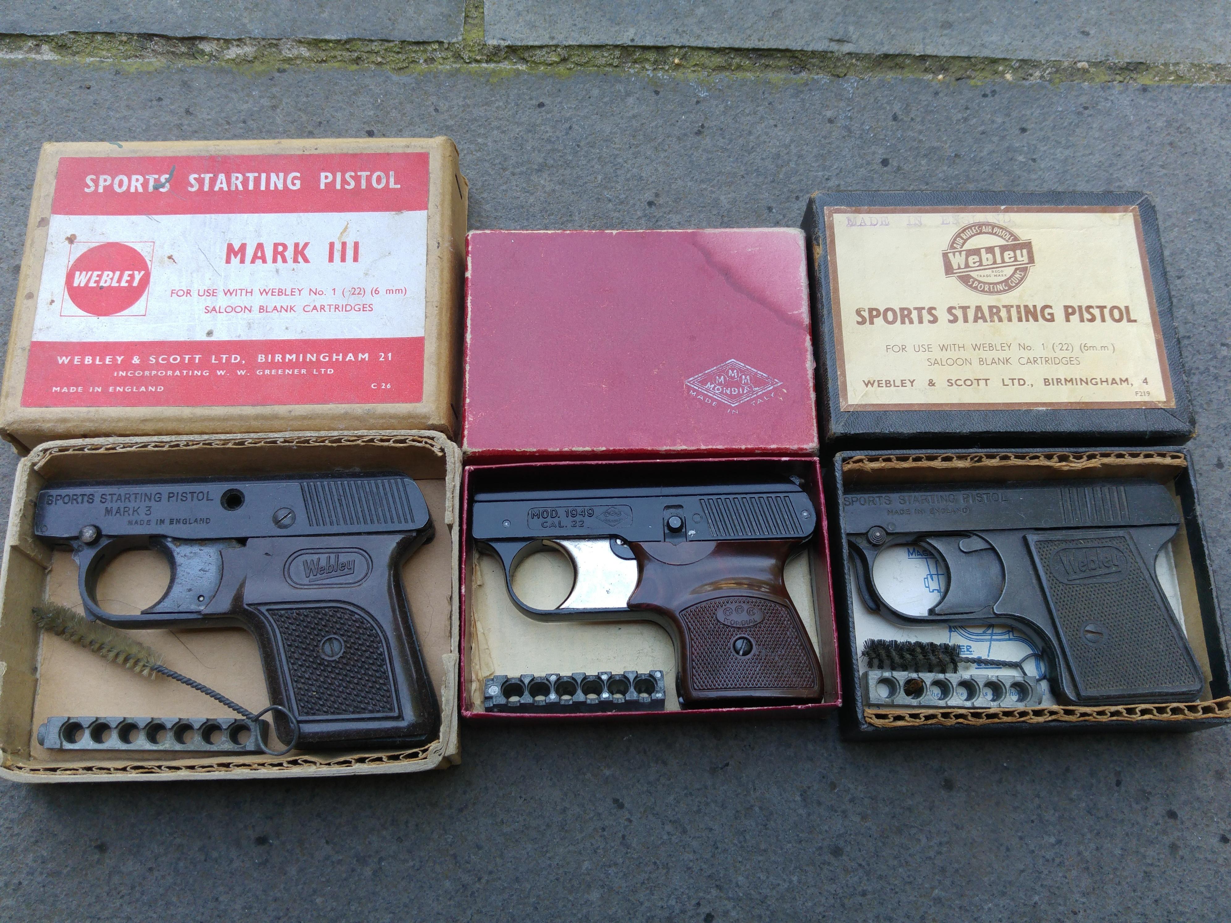 Various starting pistols