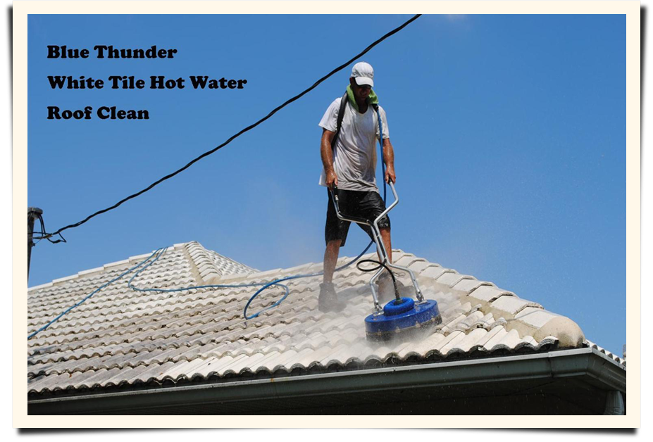 Man cleaning the roof||||Click to enlarge
