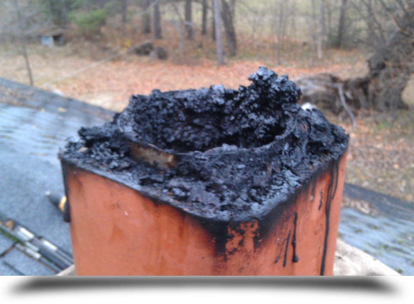 Chimney caked with soot||||
