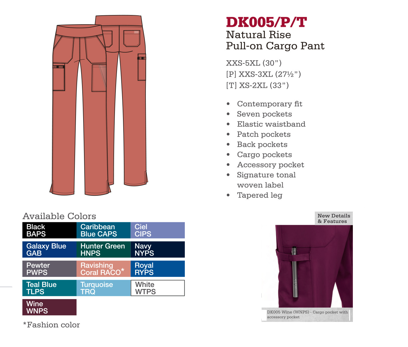 Pantalón Cargo Pull-on de Levantado Natural. DK005/P/T.