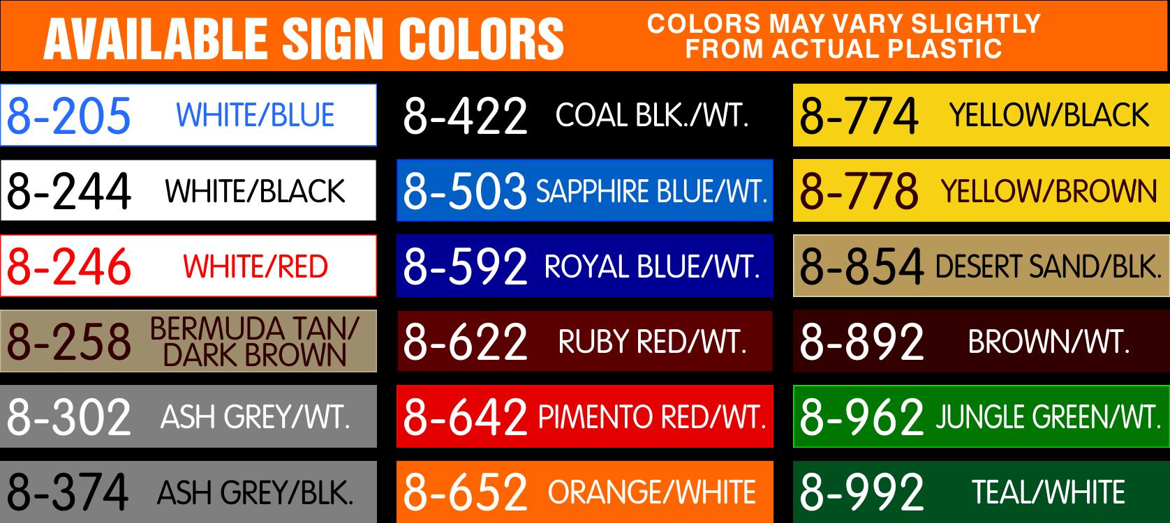 Standard Colors Palette