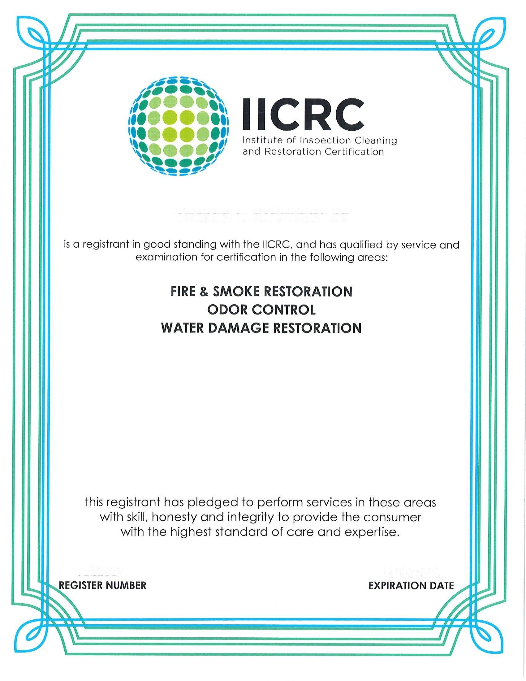 IICRC Certificate 1