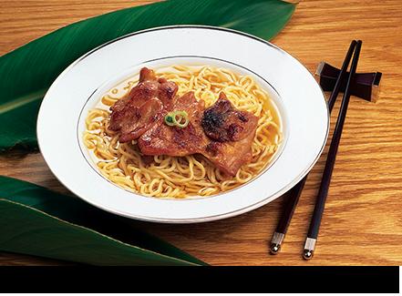 BBQ chicken saimin broth noodles    