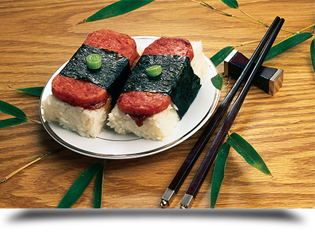 Spam musubi plate||||