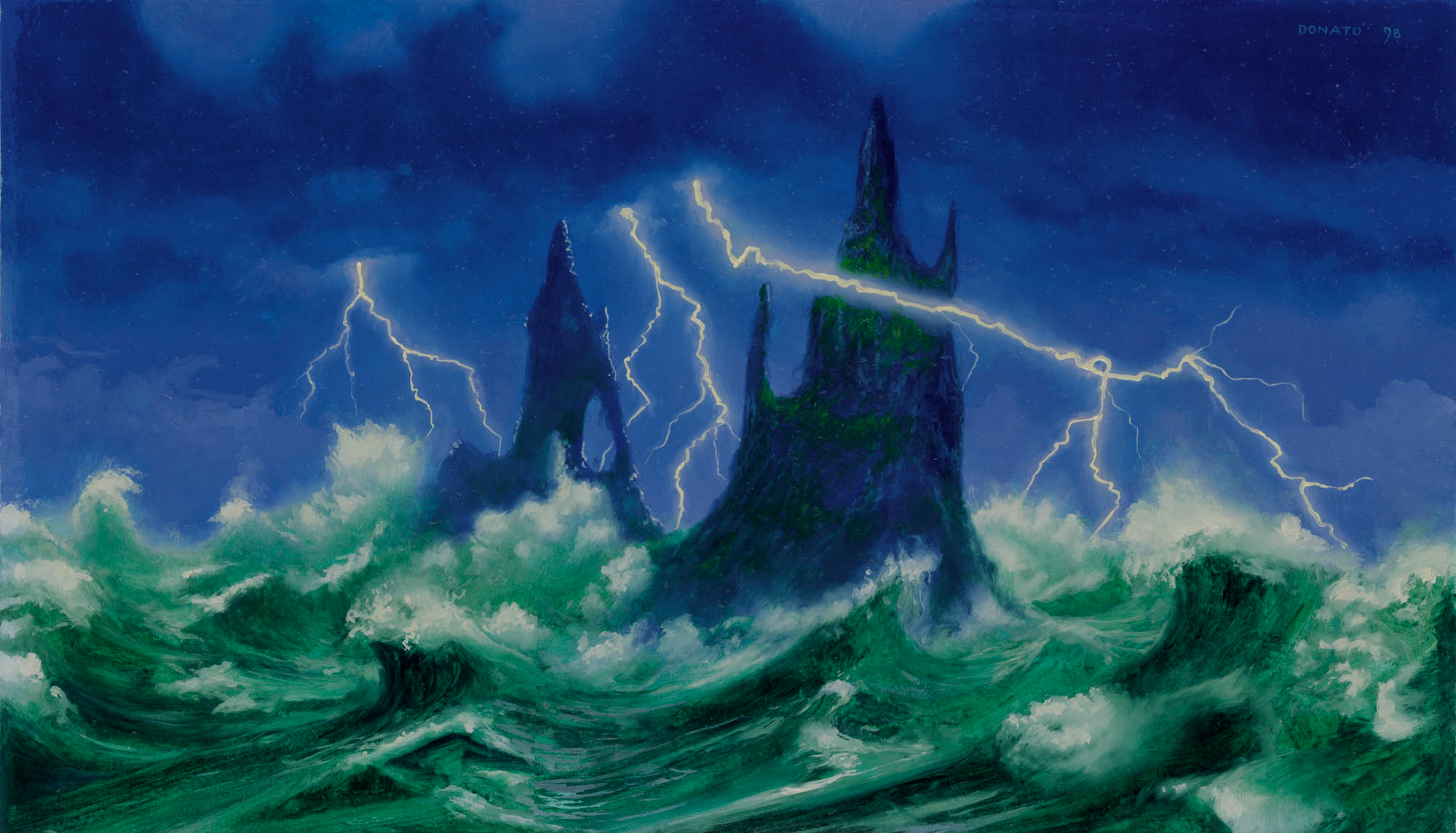 "Island - Lightning Strike Urza's Saga 8"" x 14""  Oil on Panel private collection"