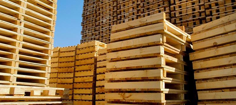 Empty wooden pallets