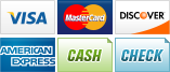 We accept Visa, MasterCard, Discover, American Express, Cash and Checks.||||