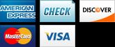 We accept American Express, Checks, Discover, MasterCard and Visa.||||
