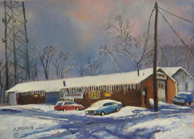 50. Earnies Automotive Repair, 9x12  oil on canvas