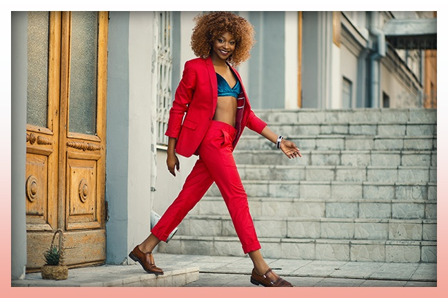 Woman Wearing Red Suit