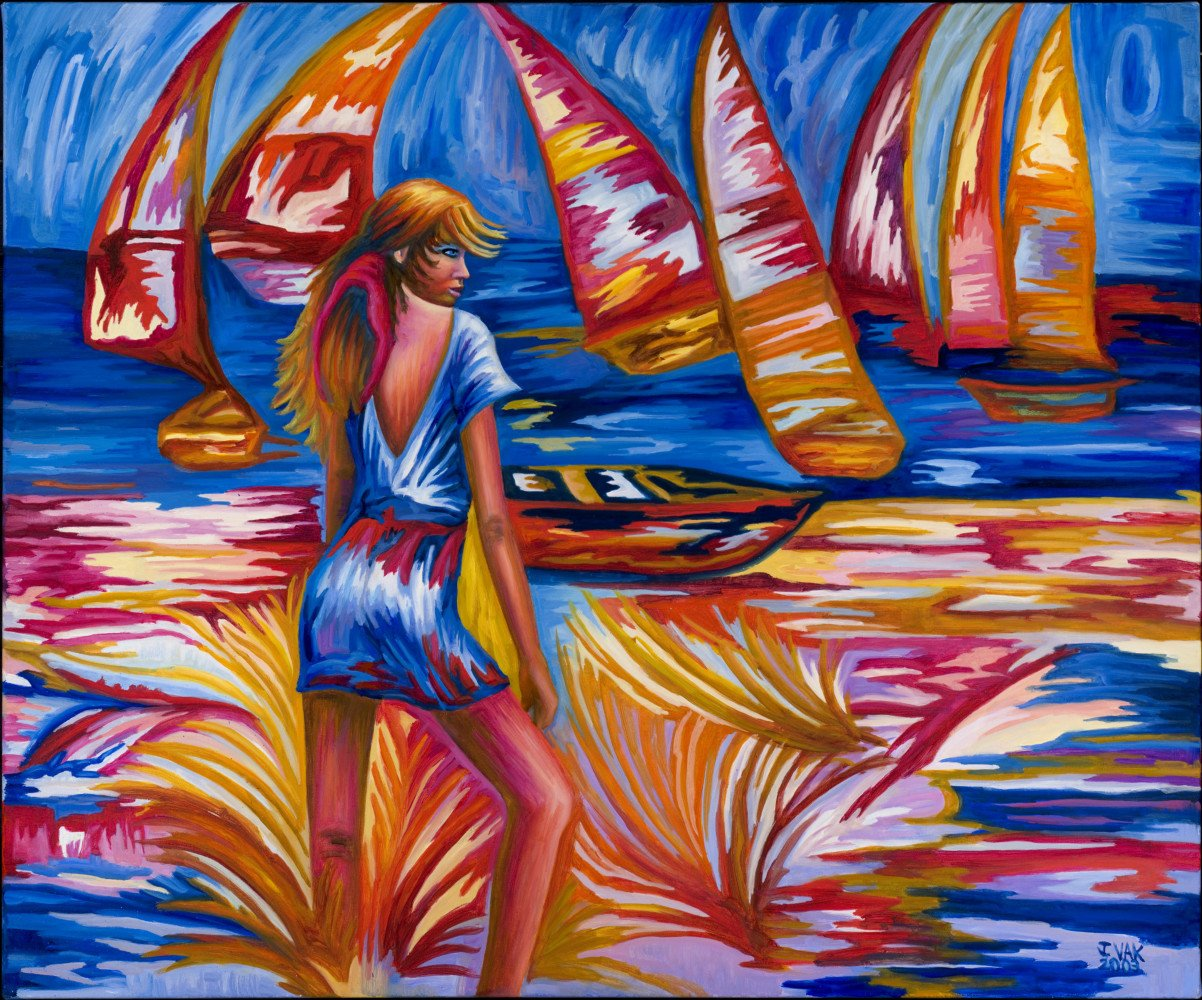 Red and Orange Sails     30x36 Original Oil              $2850                2003