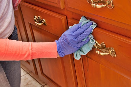 Maid cleaning furniture