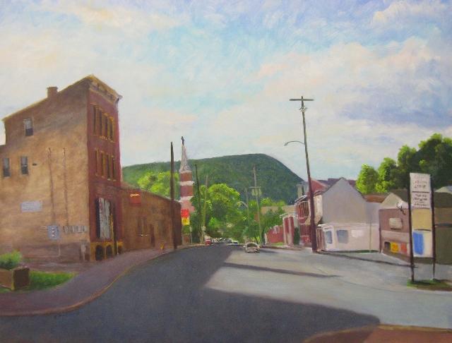 75. Street Scene, Cumberland, MD, 18x24 oil on panel