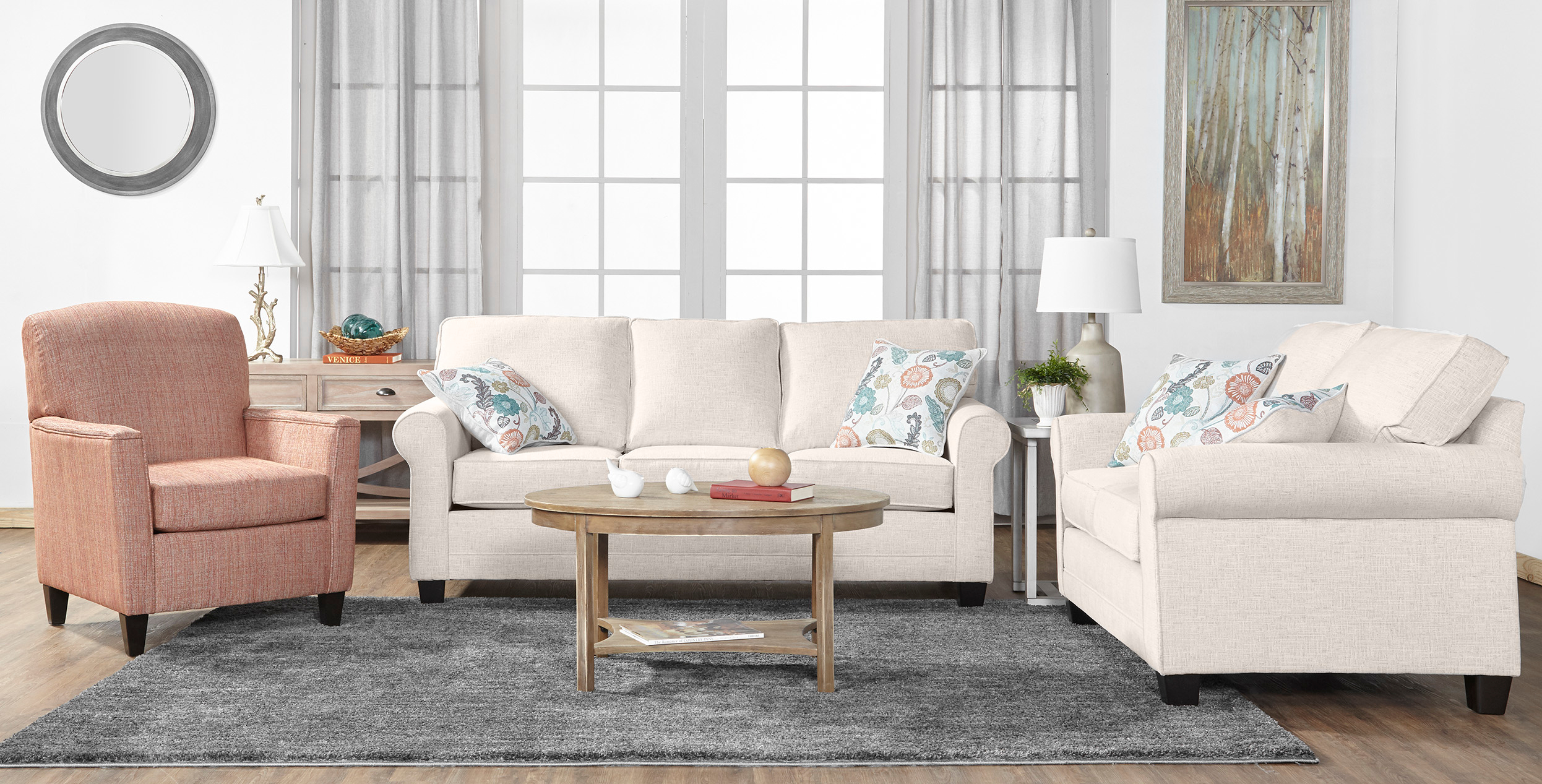 Serta 3700 Sofa and Love Seat Campbell Snow
