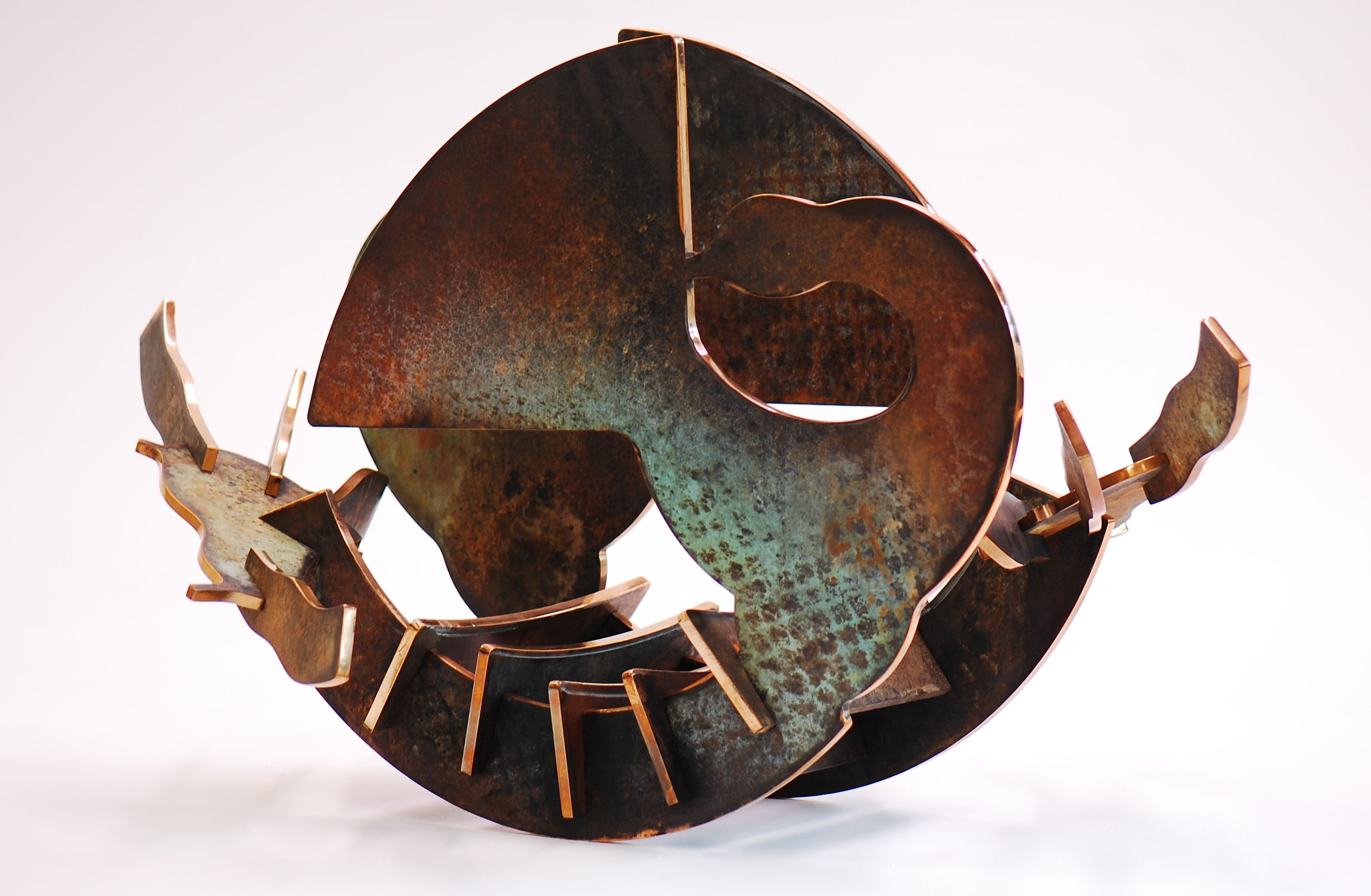 "In Retrospect - 2011, Fabricated Bronze with Patina, 23"" x 43"" x 26"""