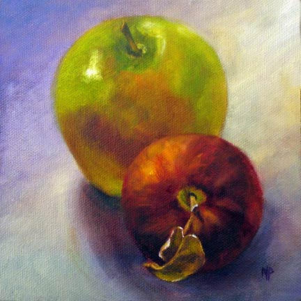 """Green & Red - 6""""x6"""" Oil on Panel SOLD"""