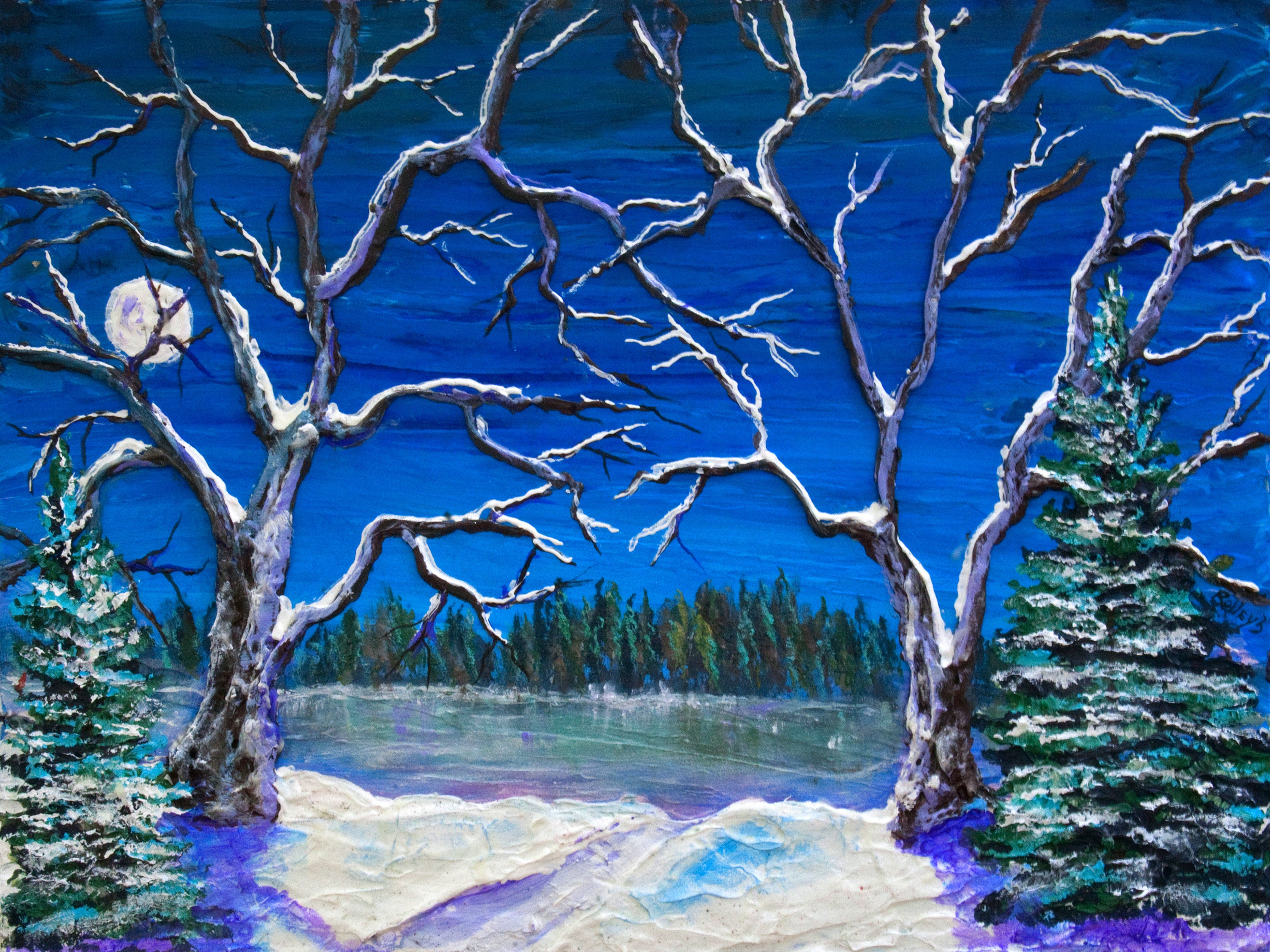 """COLD  18X24""""   $400           BATEMAN TREE PATH    30X40  $550    HIGHLIGHTED WITH GLOW IN DARK LUMINESCENT PAINT"""