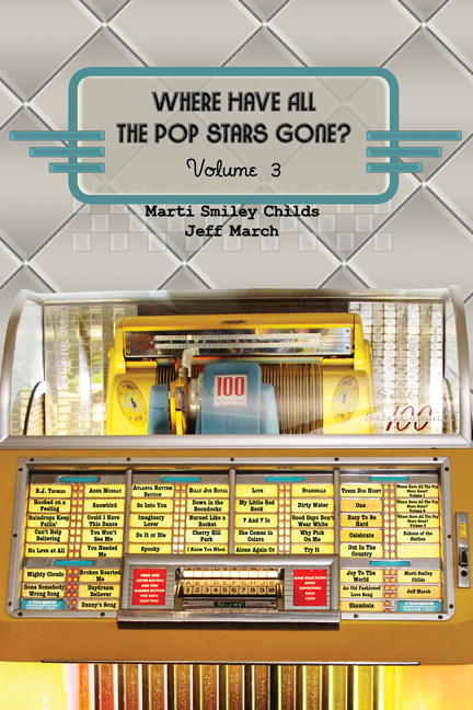 """""""Where Have All the Pop Stars Gone? Volume 3"""" book cover, showing artists' names and song titles on a vintage Seeburg jukebox"""