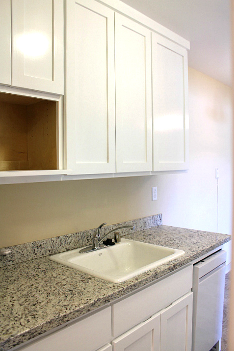 The kitchen will also have a microwave shelf, like the picture shown here.