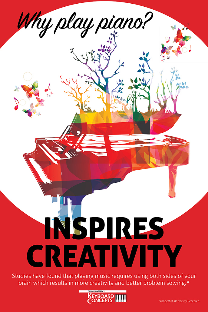In-Store poster campaign highlighting the benefits of playing piano for Keyboard Concepts