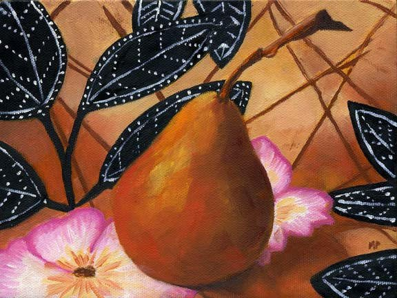 """Pear - 6""""x 8"""" Oil on Stretched Canvas SOLD"""