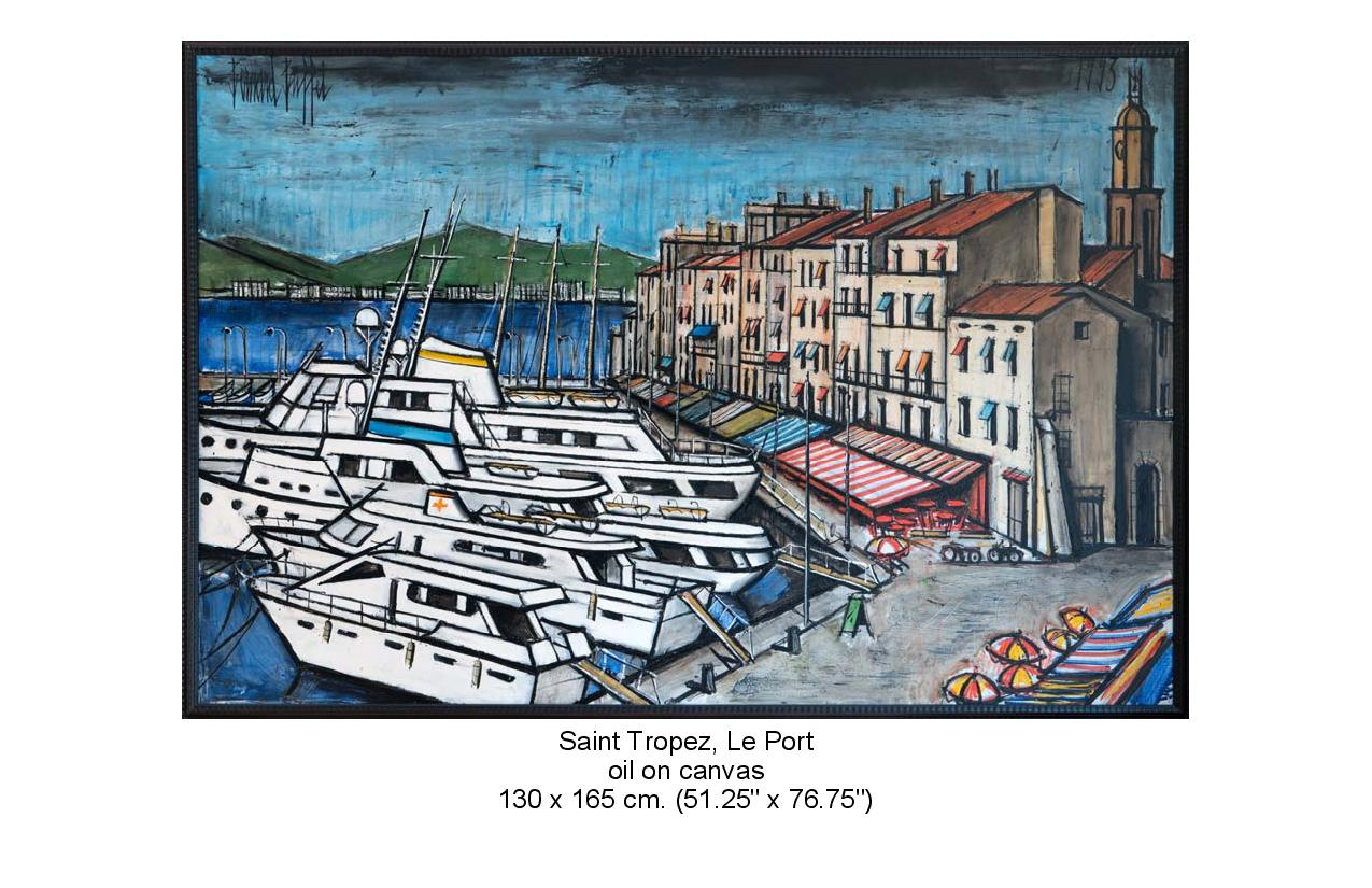 Painting of boats docked and buildings along the dock. Saint Tropez, Le Port