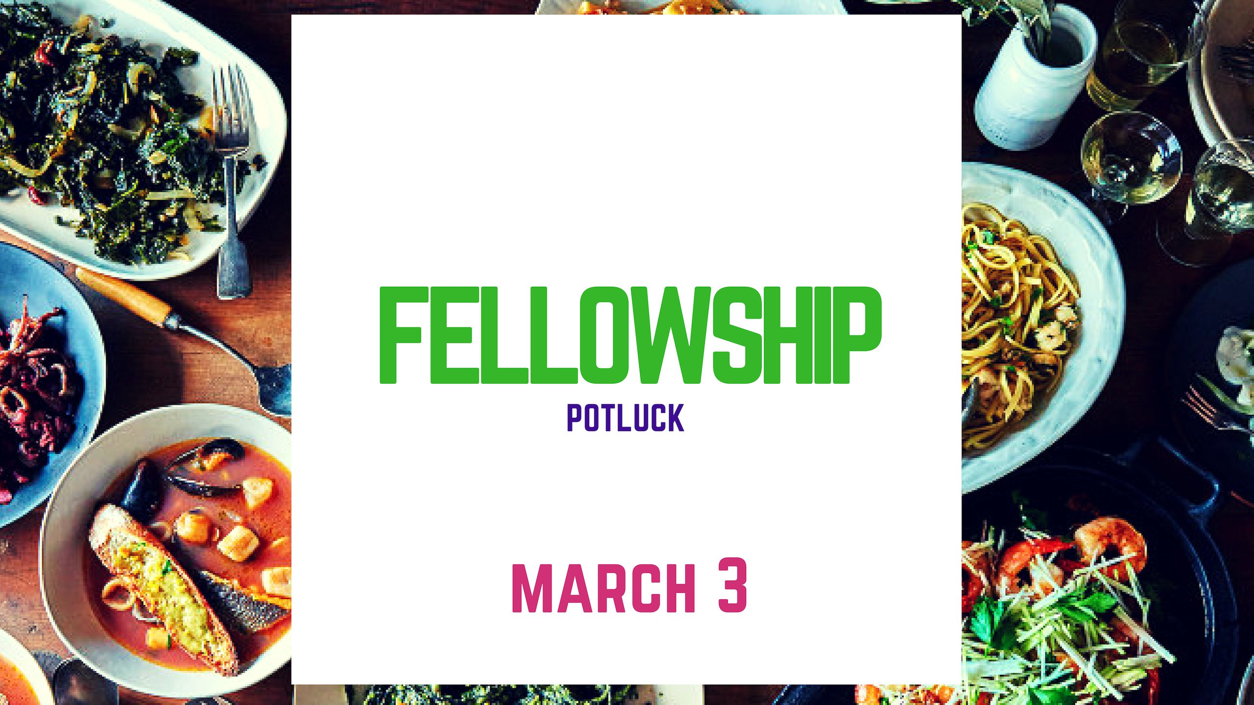 Food and Fellowship immediately following the service this Sunday.  Bring a dish or dessert to share.