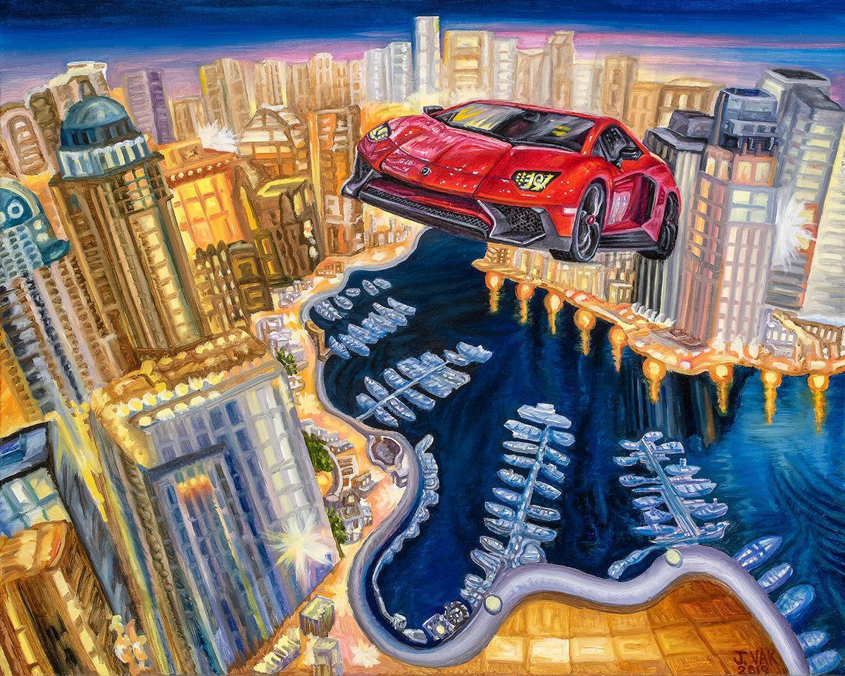 Flying Aventador 2016 24 X 30 Original Oil      $2500      2019
