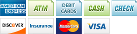 We accept American Express, ATM, Debit Cards, Cash, Checks, Discover, Insurance Accepted, MasterCard and Visa.||||