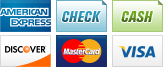 We accept American Express, Check, Cash, Discover, MasterCard and Visa.||||