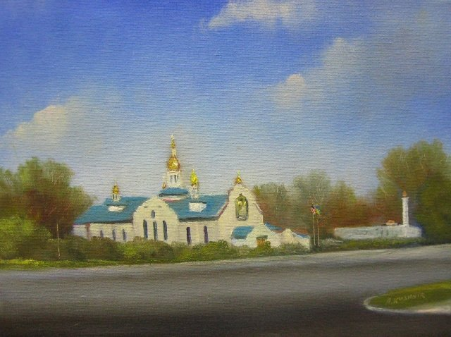 34. Religion on New Hampshire Ave, Silver Spring, 9x12 oil on canvas
