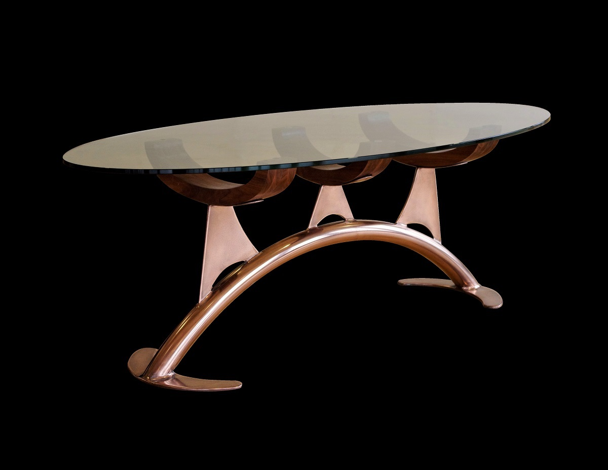 Polished Copper Finish on furniture. Creative luxury coatings & finishes.