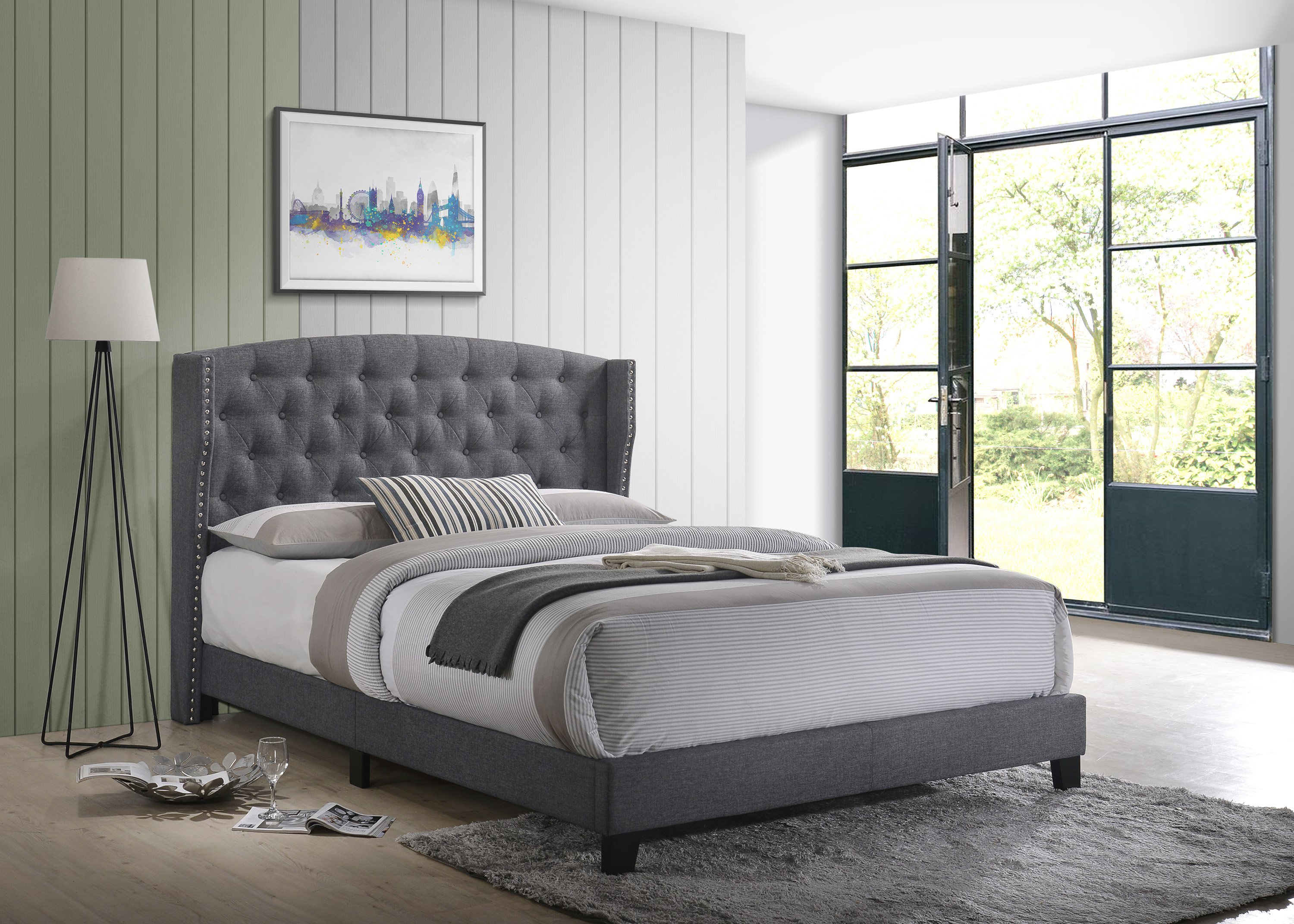 Rosemary Grey Platform Bed 5266GY