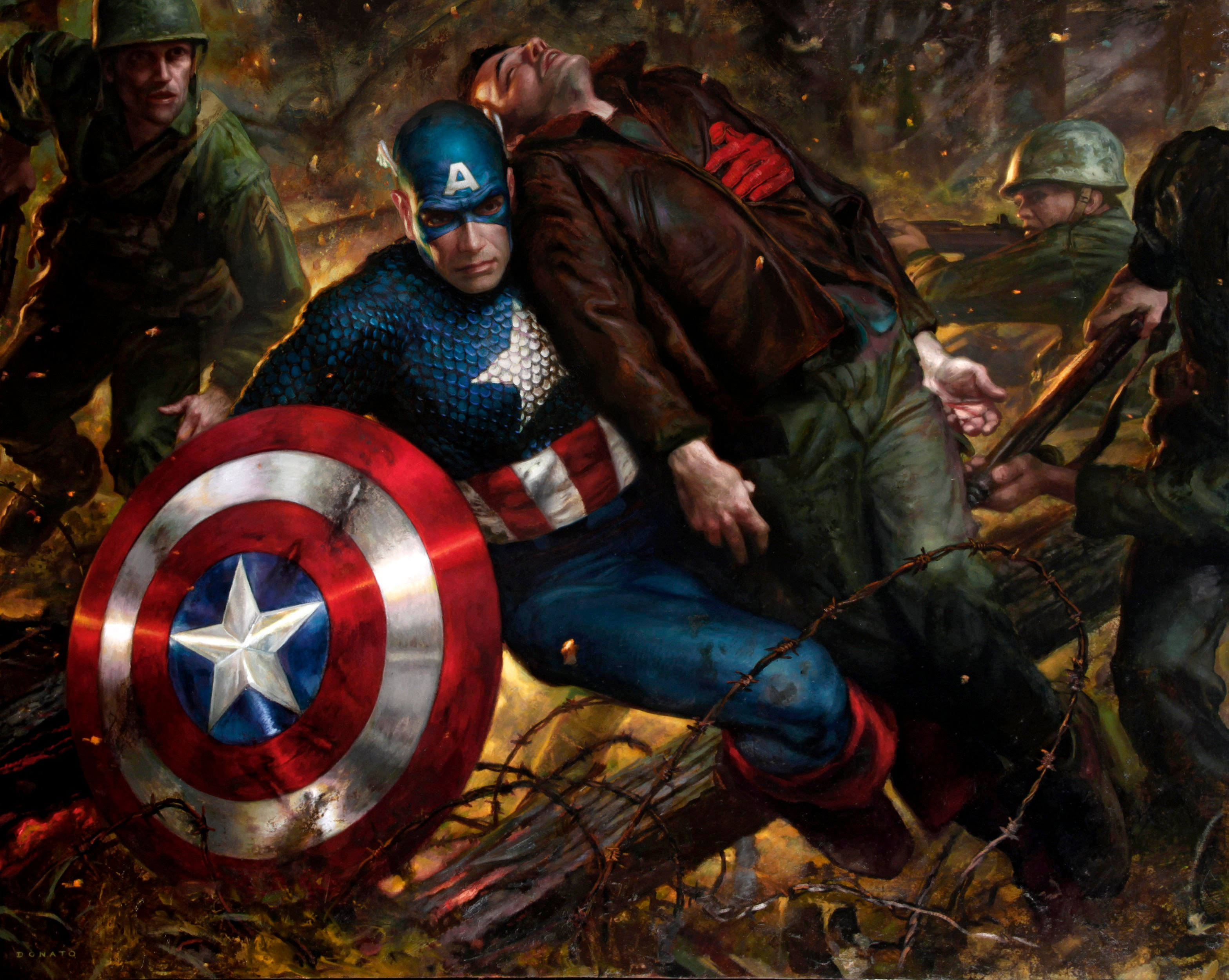 "Captain America - Duty 30"" x 40""  Oil on Panel 2011 collection of Rox and Cat Conrad"