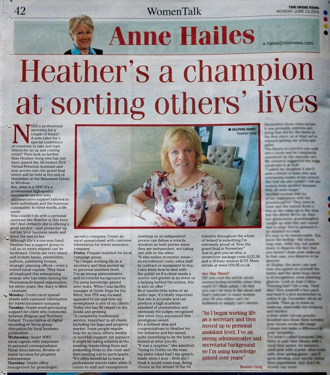 """Heather's a champion at sorting others lives."" reports Ann Hailes."