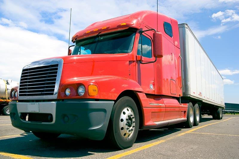 Semi truck on the freeway
