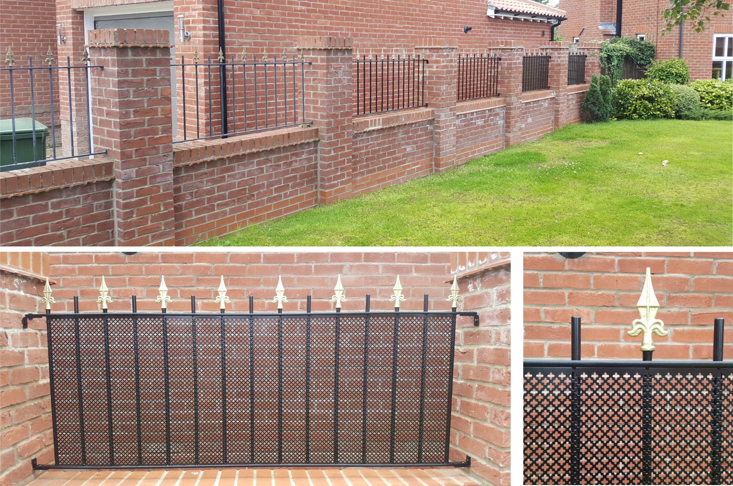 Wall railings with privacy mesh panels.