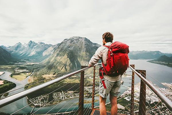 Adventurer Man Enjoying Mountains Scenery Travel