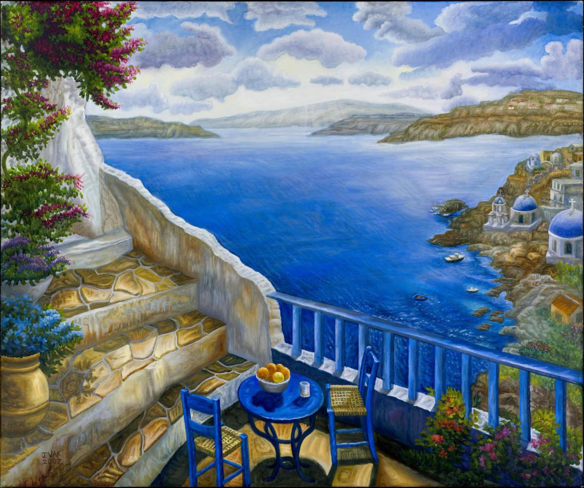 Table for Two at Santorini 30x36 original oil          $3850           2006