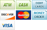 We accept ATM Cards, Cash, Debit Cards, Discover, MasterCard, Money Orders, Visa and Business Checks.||||