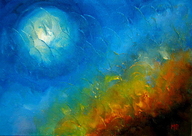 """Moonscape - 5""""x 7"""" Oil on Stretched Canvas  Sold"""