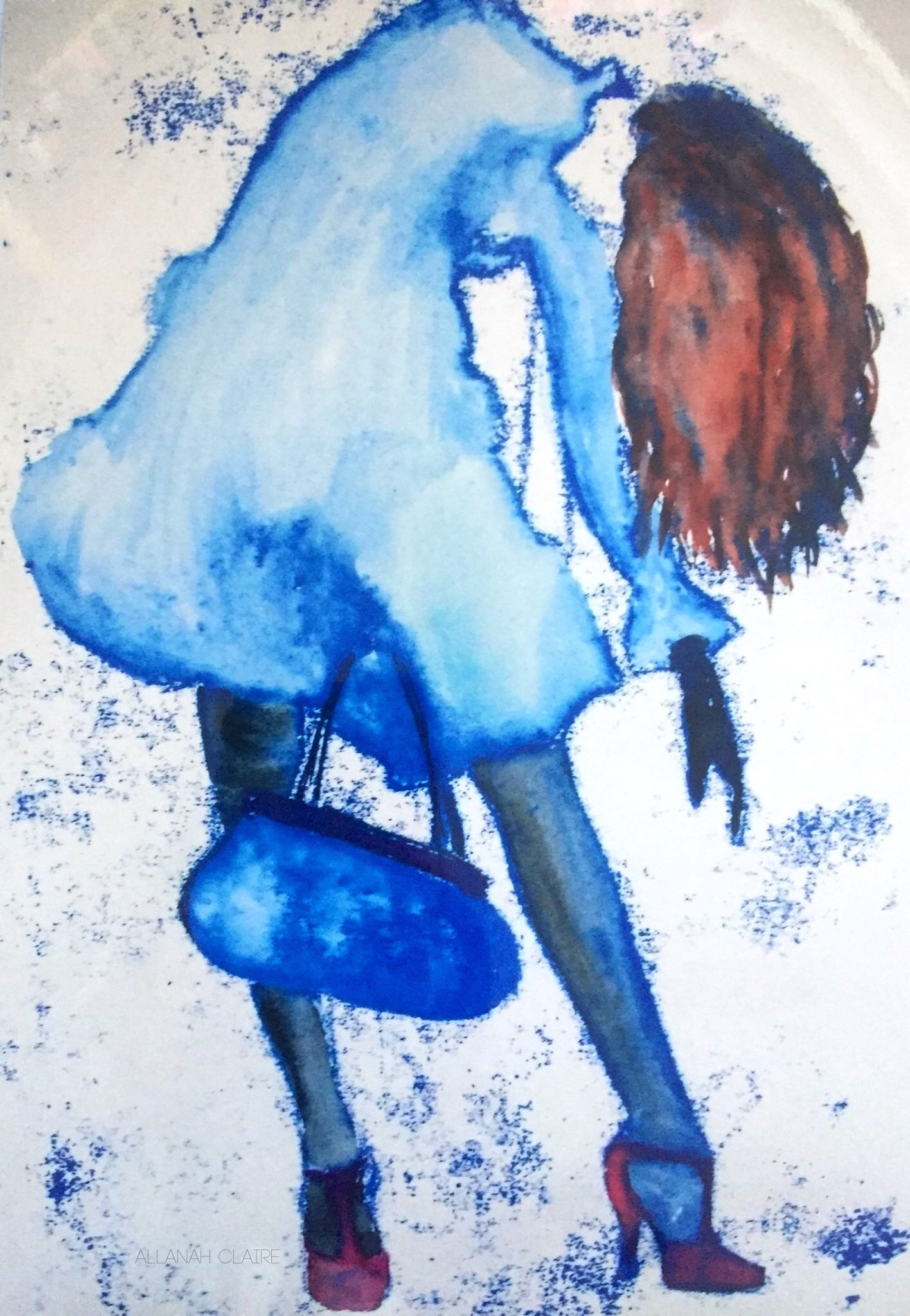 Blue Girl, Lithograph with Watercolour, 2008.