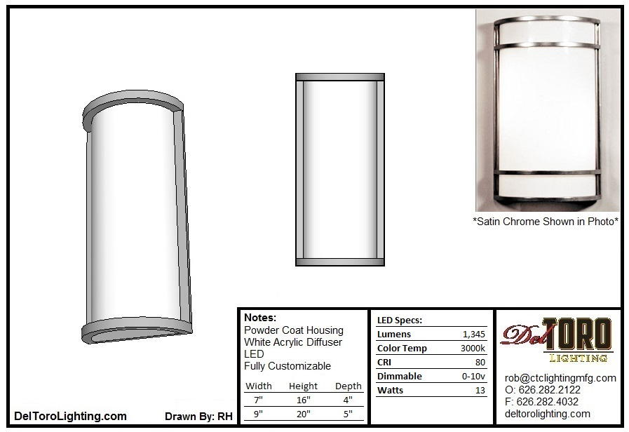 500W-Half Cylinder Wall Sconce
