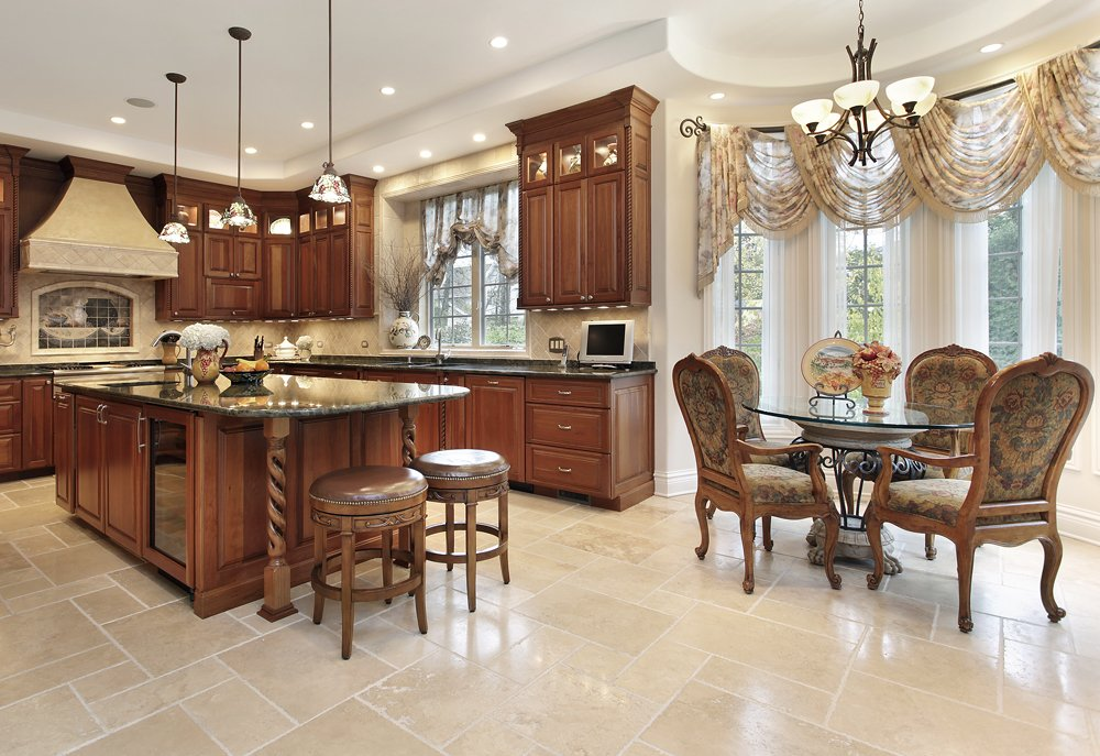 Large kitchen with tile floor||||