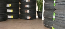 Lineup of Stacked Tires