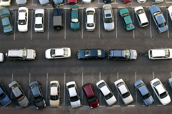 Crowded parking lots from above
