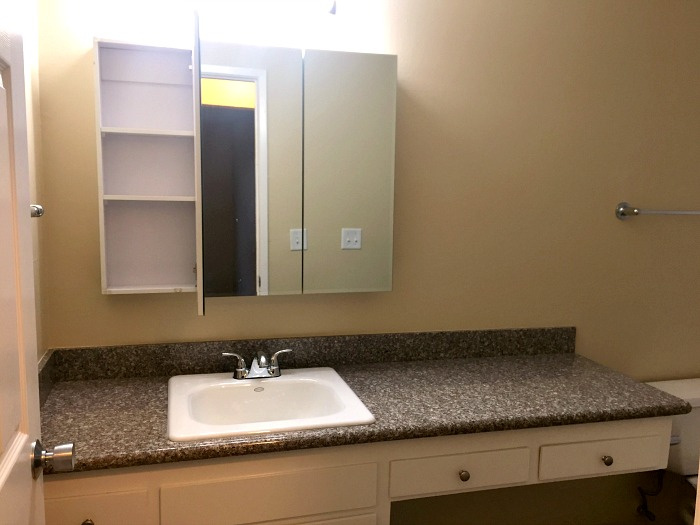 Bathroom with a large, new, granite countertop