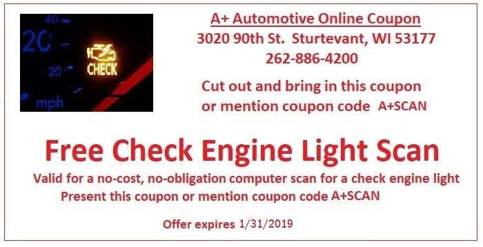 Free Check Engine Light Inspection Coupon for Racine, Kenosha and Sturtevant at A+ Automotive Inc.